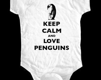 Keep Calm and Love Penguins One-Piece Bodysuit or Shirt - Printed on Baby, Toddler, Youth shirts