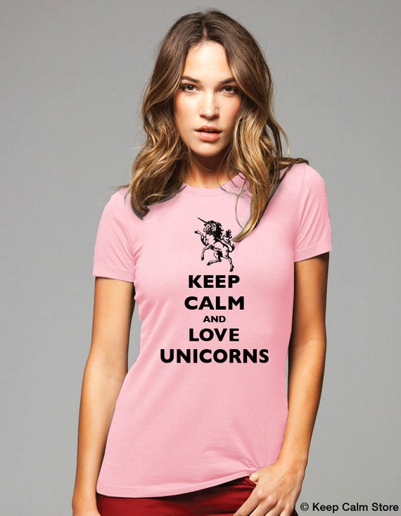 Keep Calm and Love Unicorns T-Shirt - Soft Cotton T Shirts for Women, Men/Unisex, Kids