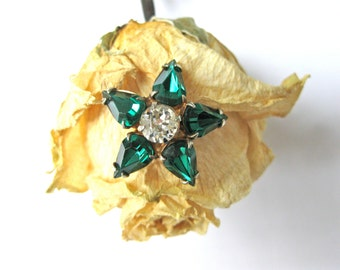 Vintage Emerald Brooch with Rhinestone, Faux, Star or Flower Fashion Art Deco Gift Idea