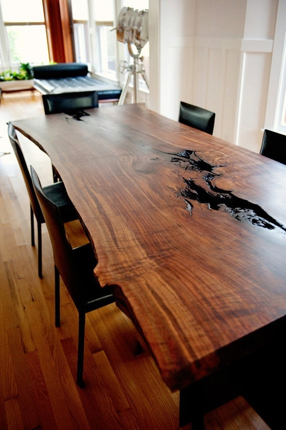 items similar to modern live edge claro walnut slab dining table on etsy. Black Bedroom Furniture Sets. Home Design Ideas