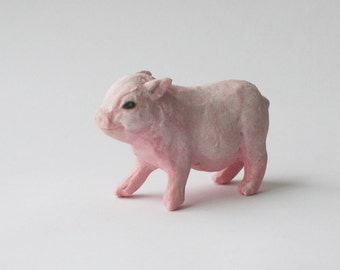 Baby Pig Miniature Pink Potbelly Piglet Porcelain Sculpture
