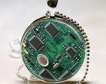 Circuit Board Pendant, Circuit Board Jewelry, Geek Pendant, Circuit Board Necklace (PD0464)