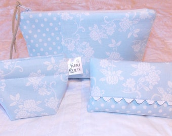 Powder Baby Blue and White Floral Zipper Pouch Set including Coin Purse and Tissue Holder