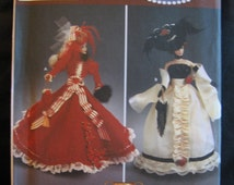 """Simplicity 5702 DIVA Doll Collection II  Barbie Doll Costumes 11.5"""" Dress Gown Period Pattern Uncut"""