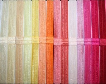 You choose 35 Fold Over Elastic (FOE) 5/8 Inch Headbands Set - Over 50 Colors - Interchangeable - Super SPEEDY Shipping