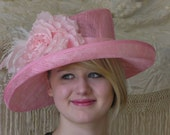 Pink Kentucky Derby Hat, Weddng Hat, Polo Hat