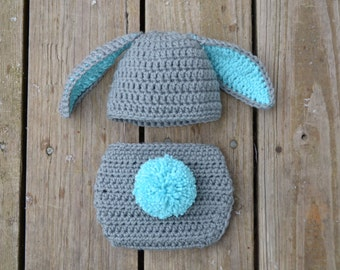 Newborn Bunny Hat with Diaper Cover Outfit in Gray - Photo Props, Photography Props, Easter ( available in different color )