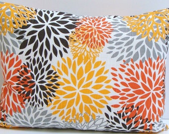 PILLOW.GRAY.ORANGE.12x16 or 12x18 inch.Pillow Cover.Decorative Pillows.Housewares.Home Decor.Mums.Throw Pillow.Home Decor.Cushion.Orange.cm