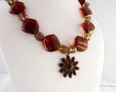 Awesome Autumns - Necklace in Browns and Yellow with Metal Charm