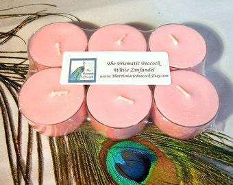 White Zinfandel Wine Scented Soy Tea Light Candles 6 pack Pink