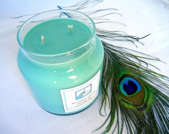 montego bay scented soy candle 20 oz apothecary jar turquoise