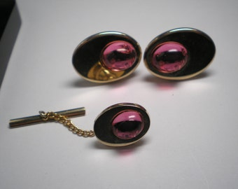 Mens Tie Clip and Cuff Links   Rose Cabachon    Item No: 16411