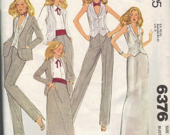 McCall's 70s Sewing Pattern Tuxedo Vest Maxi Evening Skirt Blouse Suit Jacket Straight Leg Pants Bust 32