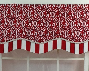 Kimono layered shaped valance with trim in red or black