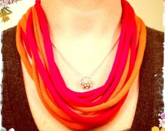 Upcycled Red & Orange T-shirt Scarf Necklace