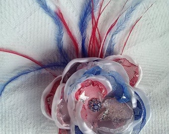 Star spangled flower with feathers, patriotic hair accessory, fourth of july flower, red white and blue photography