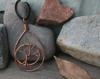 Teardrop copper tree pendant