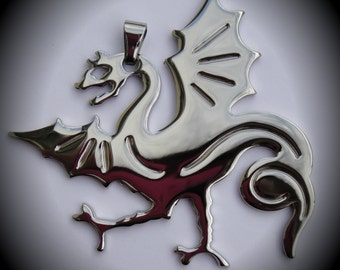 Large Stainless Steel Dragon Pendant