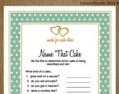 Name that Cake Bridal Shower Printable Custom Game for Weddings with Hearts