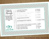 Bridal Shower Printable DIY Game: Celebrity Marriages with Hearts - Custom Colors