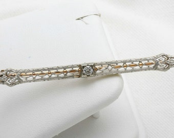 Estate 1920's Diamond Filigree Pin Brooch Vintage 0.20 carat miners cut