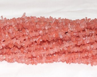 "Cherry Quartz Chip Gemstone Bead - 34"" Strand"