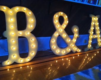 "SALE 16"" Big Vintage Style Marquee Letters Wood...........       A B C D E F G H I J K L M N O P Q R S T U V W X Y Z"