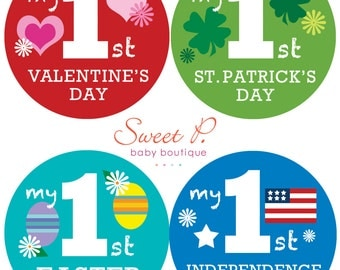 My Baby's First Holiday Sticker Set: Valentines, St. Patricks, Easter, the 4th, Halloween, Thanksgiving, Christmas, New Years, Mday & Fday