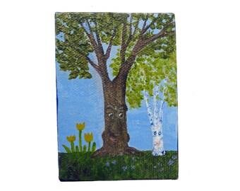 Tree Heaven oak,birch meet green,gold light small painting