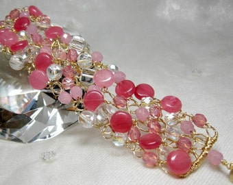 Raspberry Pink Crochet Wire Bracelet, handmade beaded pink bracelet, wire crochet jewelry, magnetic clasp bracelet