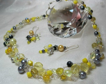Crocheted Wire Necklace Set in Yellow and Grey, handmade beaded wire crochet necklace