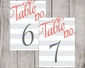 Gray Stripes Printable Table Numbers