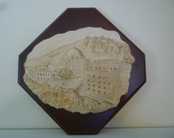 Vintage Judaica 3-D sculpture wall hanging Temple and Dome of the Rock, Israel