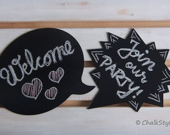 2 Chalkboard Speech Bubbles Photo Props Wedding Engagement Photography Props Wooden Chalk Boards