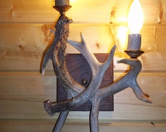 Deer Antler Wall Sconce, great design, two lights, real antlers, Made here in the U.S.A.