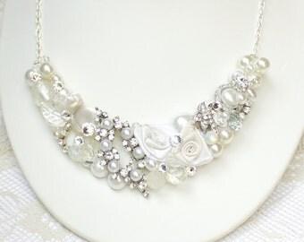 Romantic Bridal Statement Necklace- Rhinestones & Pearl- Vintage Inspired Bib Necklace-Pearl Wedding accessories- Bridal Bib