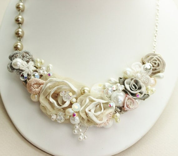 Floral Statement Necklace- Champagne Bridal Jewelry- Vintage Inspired Wedding Accessories- Champagne Bridemaid Necklace