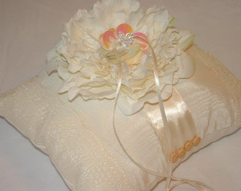 Pretty Cream RINGBEARER Pillow ~ Satin Ribbon & Large Peony Flower ~ Button Accents ~ Ring Bearer Pillow