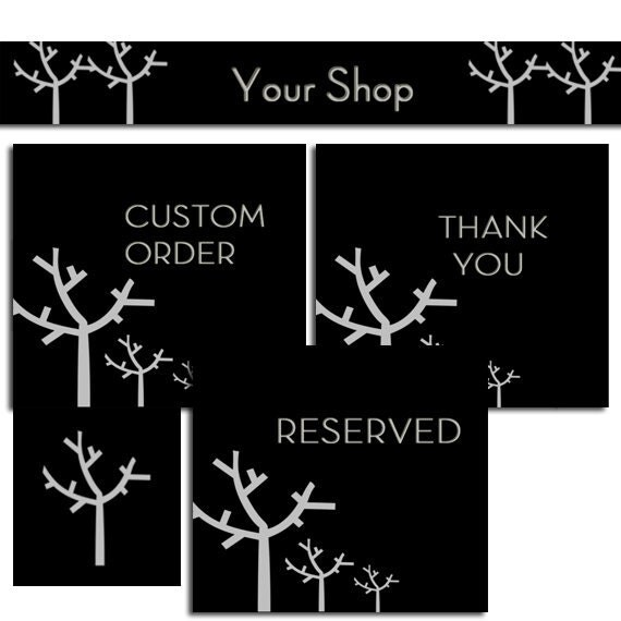 Premade Etsy Shop Banners and Avatars set - Boutique Trees cover banner