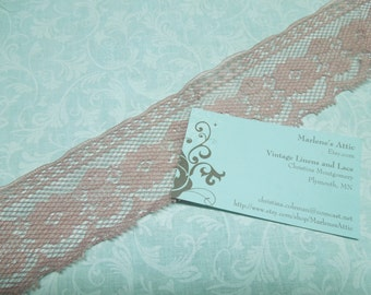1 yard of 2 inch Mauve Pink Chantilly Lace for valentines, sweetheart, baby girl, wedding by MarlenesAttic - Item U5