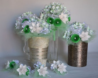 Wedding Paper Bouquet Set Package with Boutonnieres green with white