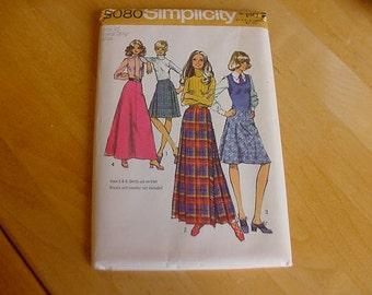 VINTAGE 1970s Simplicity Pattern 5080 Misses Skirt, 4 Variations, Short & Long Lengths, Size 12, Waist 26 1/2, Uncut