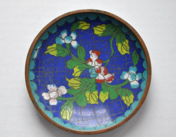 Vintage Blue Enamel Brass Cloisonne Plate Dish
