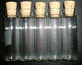 50% OFF 62 X Large Glass Bottle Vials with Cork. Size 2 1/2 inch tall- item 1965