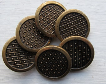 Vintage brass metal buttons set of 6