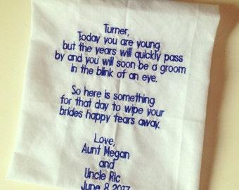 Ring bearer handkerchief keepsake