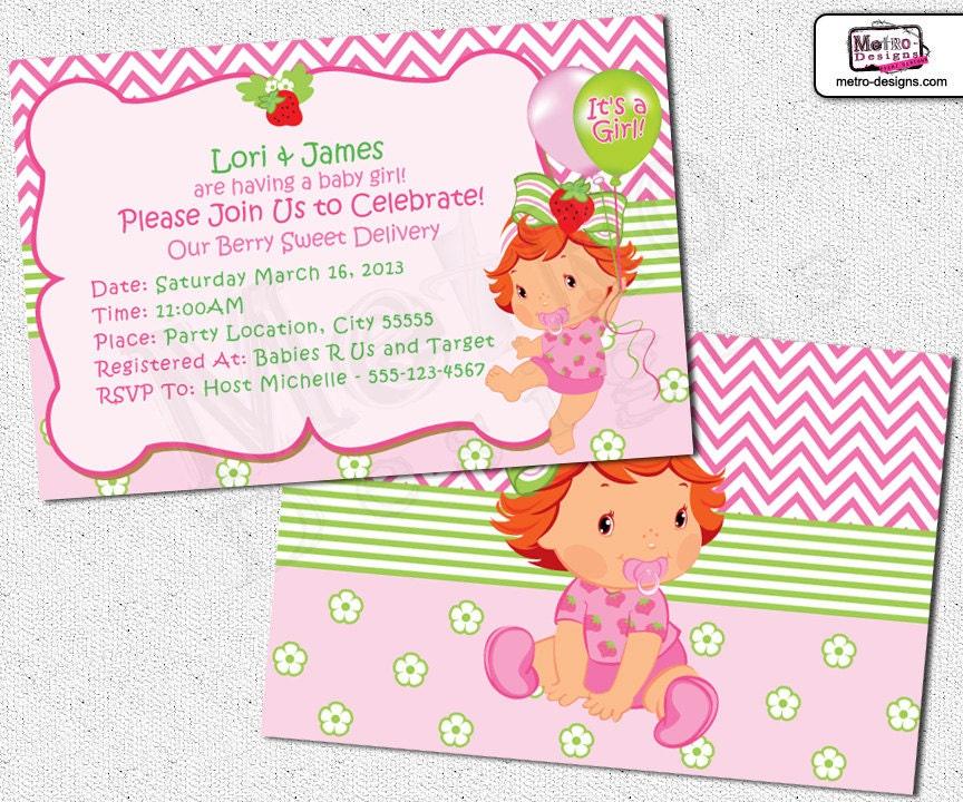 baby shower strawberry shortcake invitations by metroevents