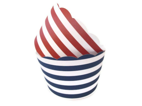 Navy and Red Striped Cupcake Wrappers - Nautical, Whale Parties, Clambake, Summer Parties, Fourth of July