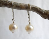 Modern Wedding Earrings: AAA Freshwater Pearl Drops-  Sterling Silver Lever Back Ear Wires- June Birthstone
