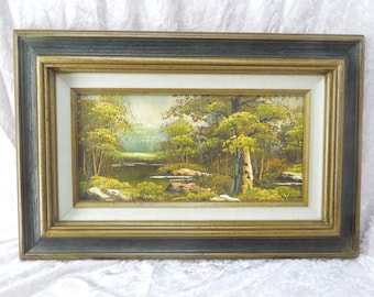 Vintage Oil Painting on Board Forest Pond Landscape Scene Framed Made in Mexico
